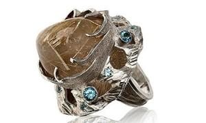 Кольцо с кварцем волосатик