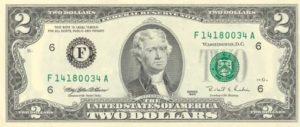 Купюра 2 доллара