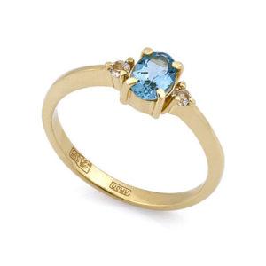 Золотое кольцо с вувамарином